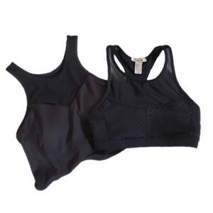 TWO Forever 21 Black Sports Bra Like New Active